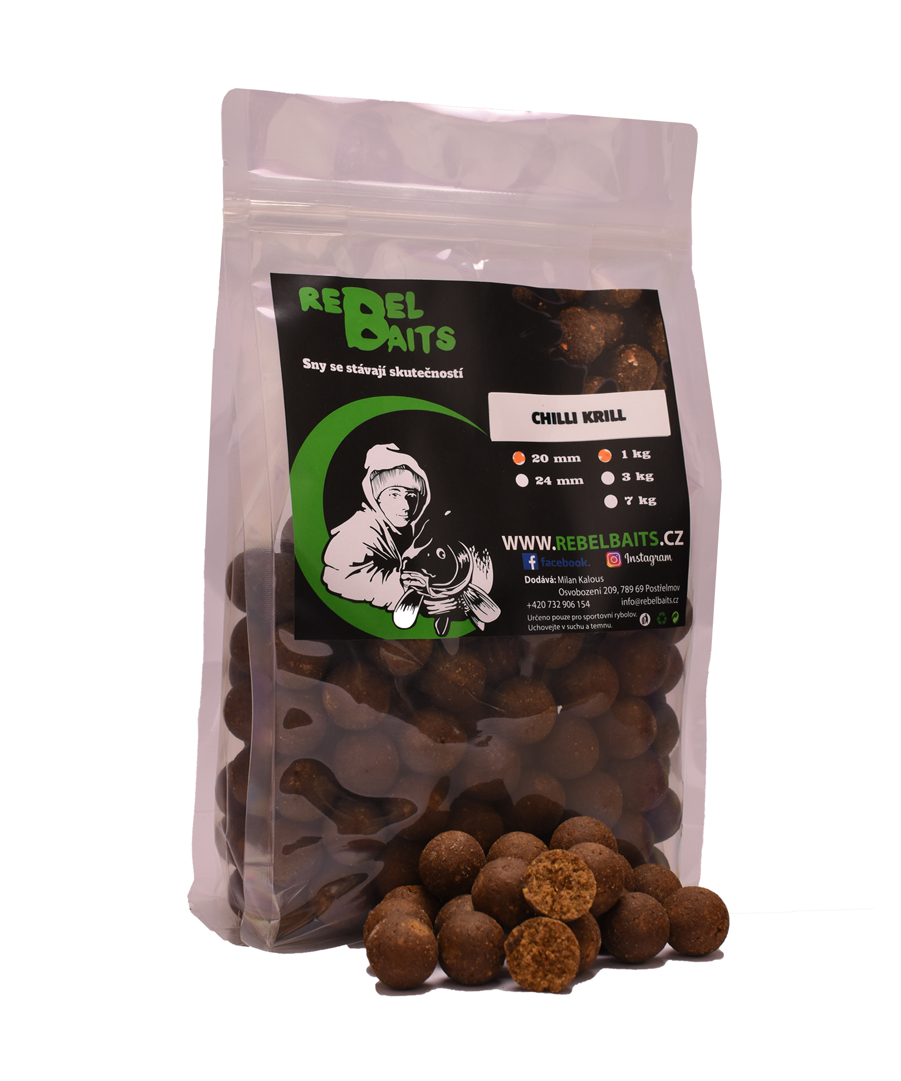 Boilies - Chilli Krill 1kg, 20mm